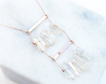 Clear Quartz Double Bar Necklace