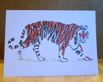 A5 Tiger Animal Art Greeting Card