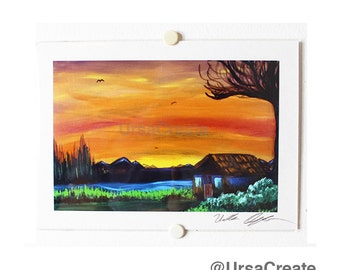 Peaceful Dawn. Print of Original Acrylic painting.