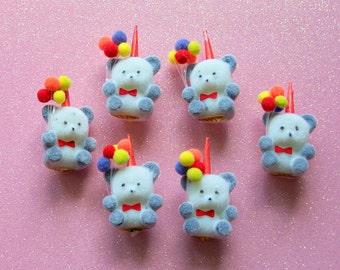 Vintage Miniature Flocked Birthday Bears Set of SIx NOS