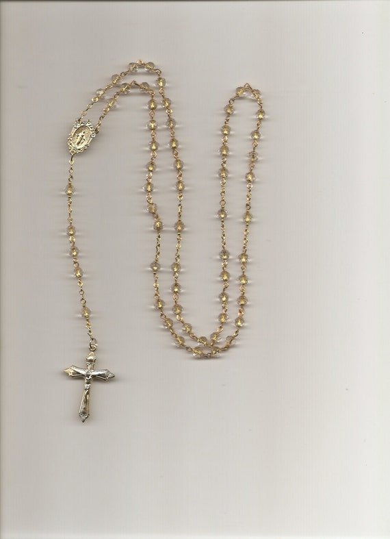 Crystal faceted mm glass bead rosary with gold miraculous