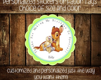 Bambi Personalized Stickers - Party Favors - Bambi Party - Favor Tags - Stickers-Birthday Stickers -Gift Tag-Choice Of Size And Color  (176)