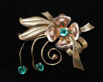 Vintage Harry Iskin IH Signed Flower Brooch, Gold Filled with Green Rhinestones