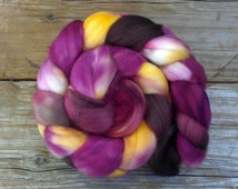 SW Merino Nylon Roving Hand Dyed for Spinning TIGER LILY - magenta pink brown baby duck sunshine yellow burgundy flower inspired sock blend