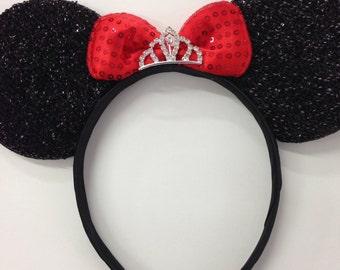 Princess mickey minnie ears / sparkle pink red tiara ears / disney mickey minnie princess / minnie ears / princess ears
