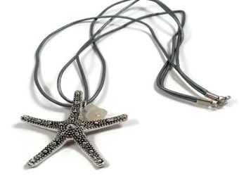 Starfish Necklace Beachglass Pendant Upcycled Necklace Lake Erie Sea Glass Eco Friendly Jewelry Leather Cord Necklace