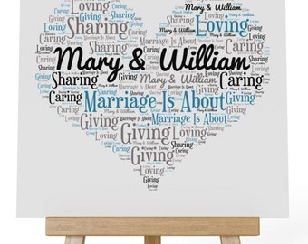 Personalised Love Word Art Wooden Plaque & Wooden Easel Stand - Marriage is about Giving