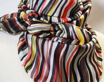 Scarf silk twill hand painted, multicolored striped , 90x90 cm (35'' x35'')