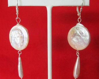 Pair of Natural Lavender Pearl Earrings With Sterling Silver Euro-Wires