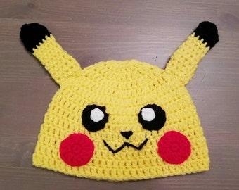 Pokémon inspired crochet Pikachu hat, Pokémon photo prop