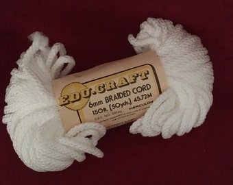 Edu-Craft 6mm Braided Macrame Cord Color White