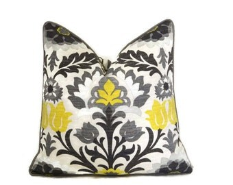 Grey and Yellow Outdoor Pillow Cover-Santa Maria Licorice Pillow Cover- Floral Outdoor Pillow Cover-Yellow and Grey Outdoor Pillow Cover