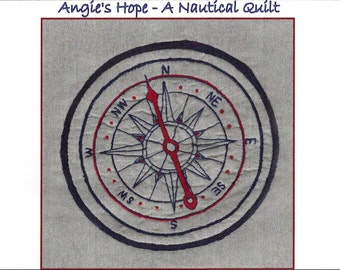Mariner's Compass Hand Embroidery Pattern - Angie's Hope A Nautical Quilt - by Beth Ritter - Instant Digital Download