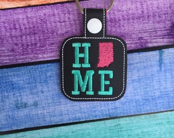 Indiana HOME   - State- The Hoop - Snap/Rivet Key Fob - DIGITAL Embroidery Design