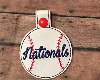 Nationals - Baseball - In The Hoop - Snap/Rivet Key Fob - DIGITAL Embroidery Design