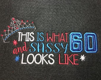 60th Birthday - Tiara - 60 and Sassy Applique  - 3 Sizes Included - DIGITAL Embroidery DESIGN