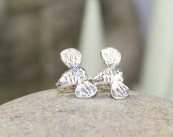 Handcrafted Sterling Silver Bee stud earrings exclusive to JulieBjewellery