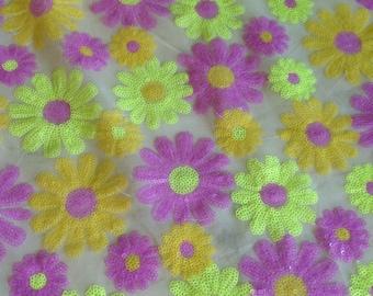 1 Yard Purple Sequin Fabric,Sun Flowers Sequin Lace Fabric,Wedding Bridesmaid Dress Fabric,Craft Supplies Fabric