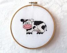 Cow cross stitch, PDF pattern, farm embroidery, barn animal needlepoint, bovine digital download, printable DIY handmade craft, Wisconsin