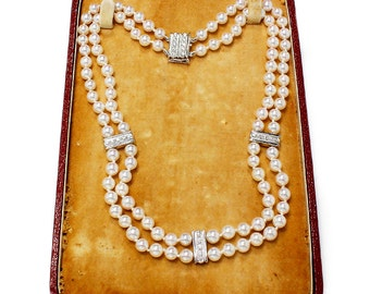 "Mikimoto Pearl Double Strand Diamond Necklace 14"" Choker w/ Vintage Box .50ctw 5.50MM"