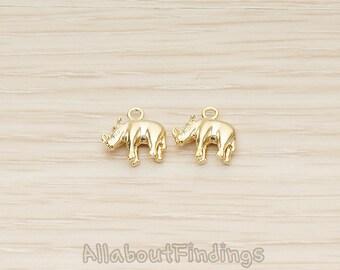 PDT1447-MG // Matte Gold Plated 3D Mini Rhino Rhinoceros Pendant, 2 Pc
