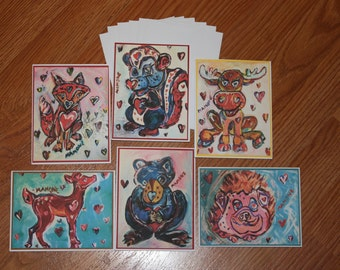 Whimsical Forest Friends Animal Note Cards