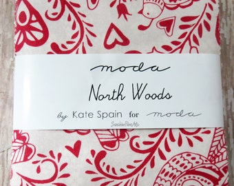 "North Woods - Kate Spain - Moda - 42 Pieces - 5"" Squares - Charm Pack - 27240PP"