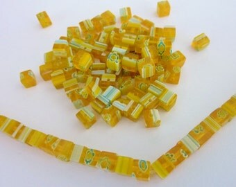 80 pce Vibrant Yellow Millefiori Glass Beads 4mm