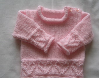 "Baby Heart Jumper in pink acrylic   Chest 18""/46cm"