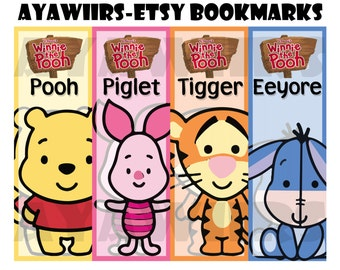 "Digital Download, Printable Bookmarks ""Winnie the Pooh"""