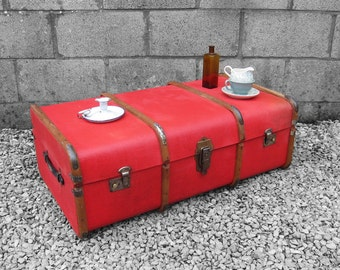 1920s Red Steamer Trunk Chest - Beautiful Vibrant Coffee Table
