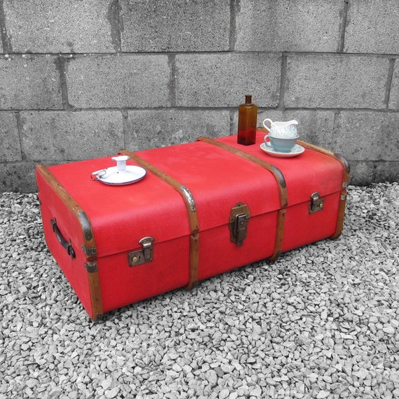 Red Steamer Trunk Chest 1920s Storage Coffee Table **Reserved Rachel and Adam's Registry