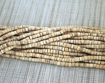 4-5mm Natural Coconut Shell Heishi Beads - Waxed - 23 inch strand