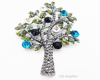 Tree of Life Brooch, Rhinestone Tree Brooch, Tree of Life Jewelry, Tree Brooch Pin, Brooch Pin, Brooch Gift, Crystal Tree Brooch