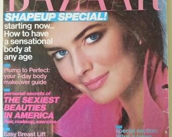 80s Vintage Magazine / 1985 May Harper's Bazaar Magazine / Paulina Porizkova / Christie Brinkley / Faye Dunaway / Fashion Magazine