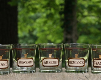Rare Set of Five Name Your Poison Glasses in Excellent Condition / Cera Name Your Poison / Name Your Poison Old Fashioned Glasses