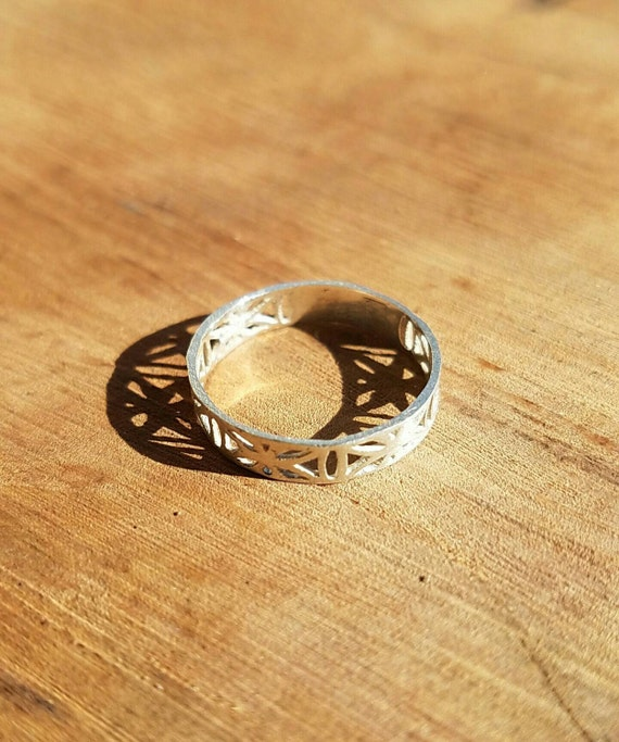 Flower of Life Filigree Ring in 100% Recycled 925 Sterling SIlver PREORDER