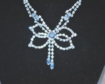 Vintage 1970s Era Blue Rhinestones Ribbon Style Silver Tone Necklace