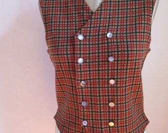 Vintage Waistcoat, Checked Vest, Vintage Vest