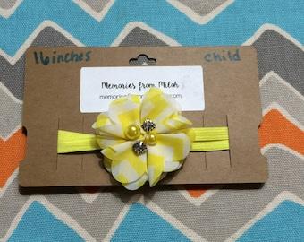 Child Sized Chevron Flower Headband w/ Pearl & Jewel Center (16 inches)