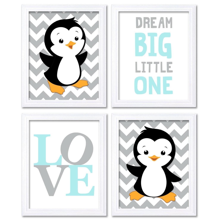 Penguin Nursery Art Baby Chevron Sky Blue Grey Dream Big Little One LOVE Set of 4 Prints Penguin Wal