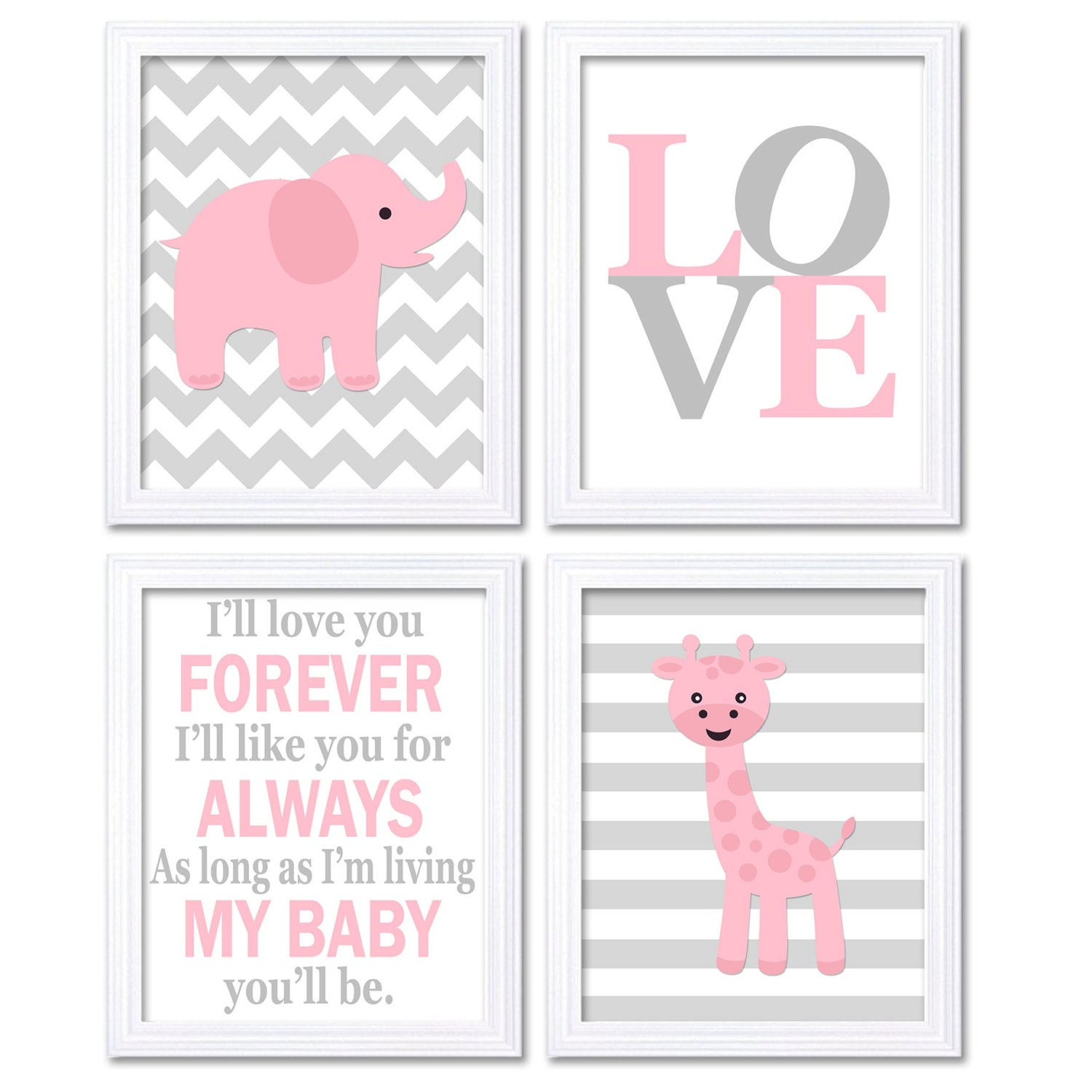 Elephant Nursery Art Giraffe Wall Decor Ill Love You Forever Set of 4 Prints Baby Pink Grey Child Ki