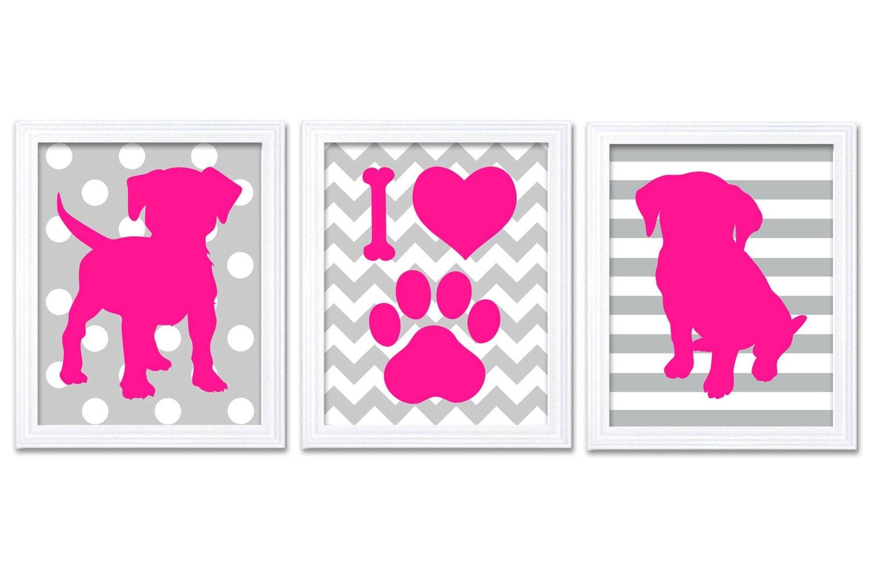 Puppy Dog Nursery Art Puppy Prints Set of 3 Prints Hot Pink Grey Stripes Chevron Polka Dots Baby Wal