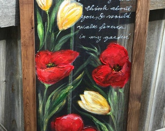 Red Poppies & Yellow tulips,Customize, Flowers on window screen, wall art, indoor and outdoor decor,porch decor,customize you saying