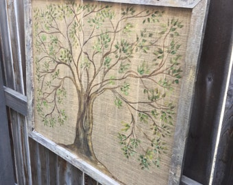Rustic burlap tree,hand painting on burlap