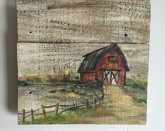 Wood pallet,BarnHand Painted,Red Barn, Rustic Decor,