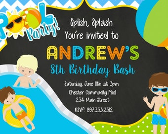 Pool Party, Swimming, Beach, Water, Birthday Party Invitation - Printable or Printed