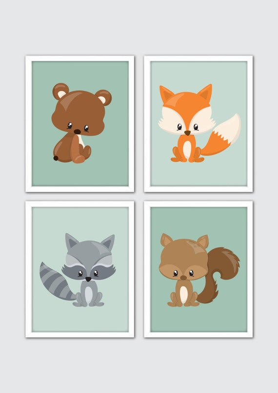 Woodland Animals Nursery Art Woodland Nursery Prints Racoon