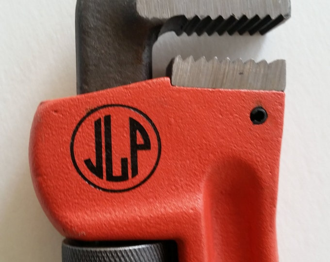 Monogrammed Pipe Wrench, Personalized Plumber 14 inch Wrench, Engraved Tool NEW