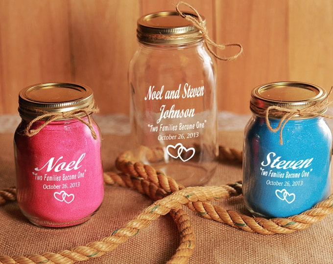 Sand Unity Ceremony, Redneck, 3 Piece set WITH SAND!  -  Engraved, Monogrammed, Personalized,  Mason Jars - wedding